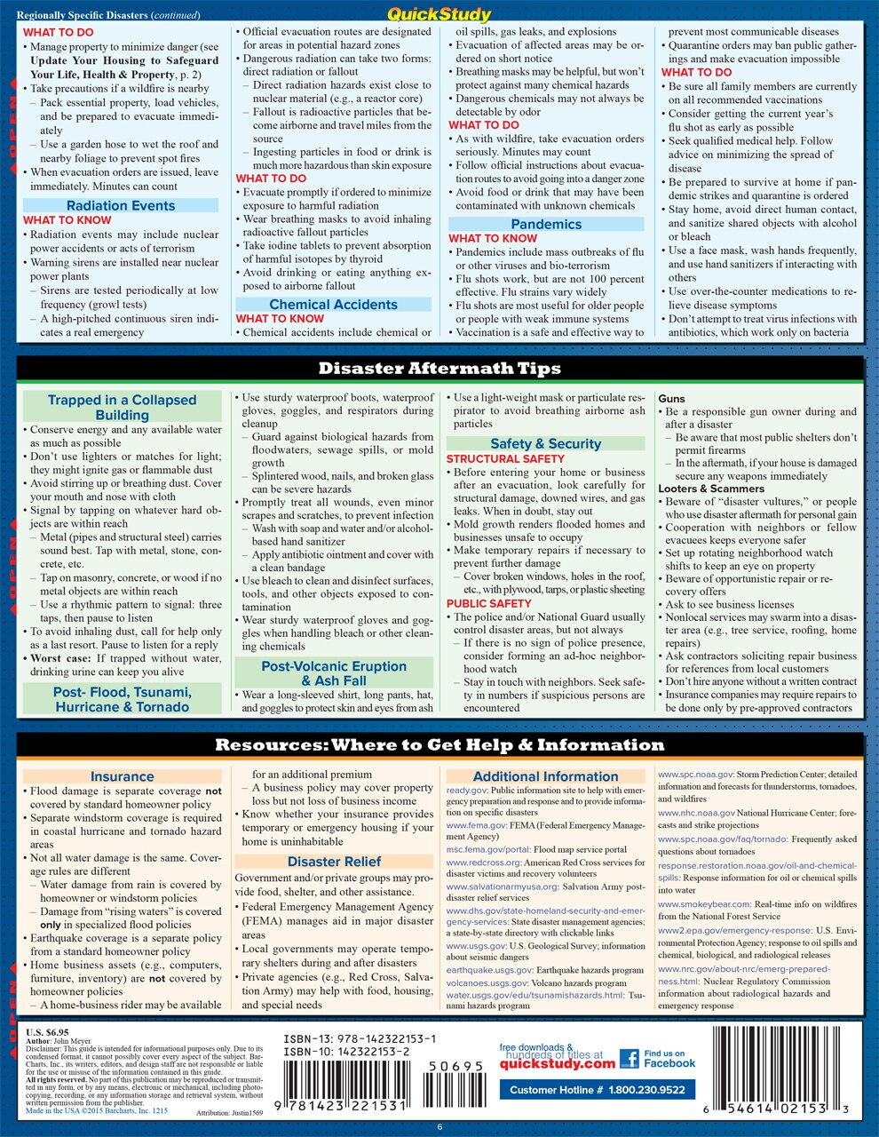 Quick Study QuickStudy Disaster Preparedness Laminated Reference Guide BarCharts Publishing Prevention Education Guide Back Image