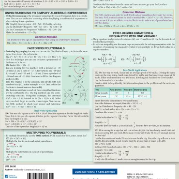 Quick Study QuickStudy Math Review: Terminology & Common Mistakes Laminated Study Guide BarCharts Publishing Business Mathematic Reference Guide Back Image