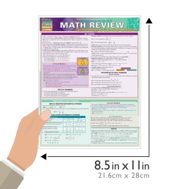 Quick Study QuickStudy Math Review: Terminology & Common Mistakes Laminated Study Guide BarCharts Publishing Business Mathematic Reference Guide Size