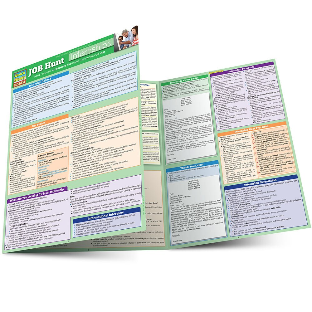 Quick Study QuickStudy Job Hunt: Internships Laminated Reference Guide BarCharts Publishing Career Outline Main Image