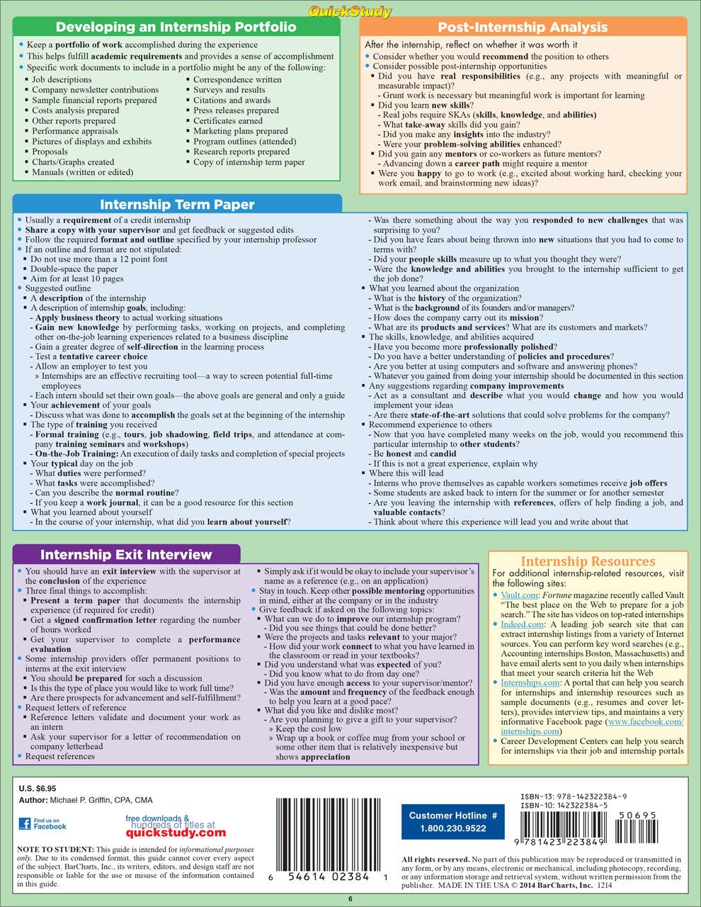 Quick Study QuickStudy Job Hunt: Internships Laminated Reference Guide BarCharts Publishing Career Outline Back Image