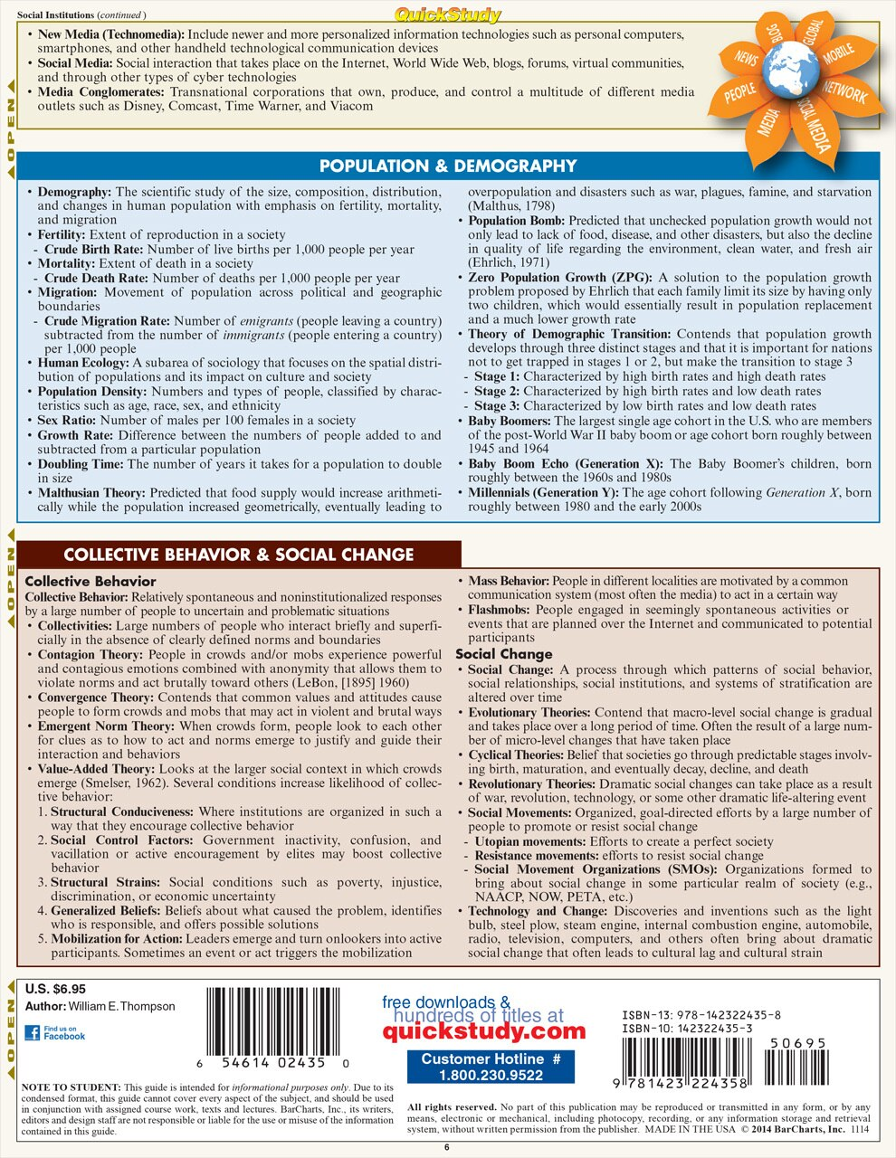Quick Study QuickStudy Sociology Laminated Study Guide BarCharts Publishing Social Science Guide Back Image