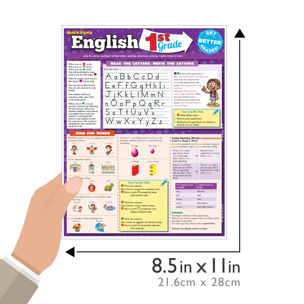 Quick Study QuickStudy English: 1st Grade Laminated Study Guide BarCharts Publishing Grade School Education Reference Guide Size