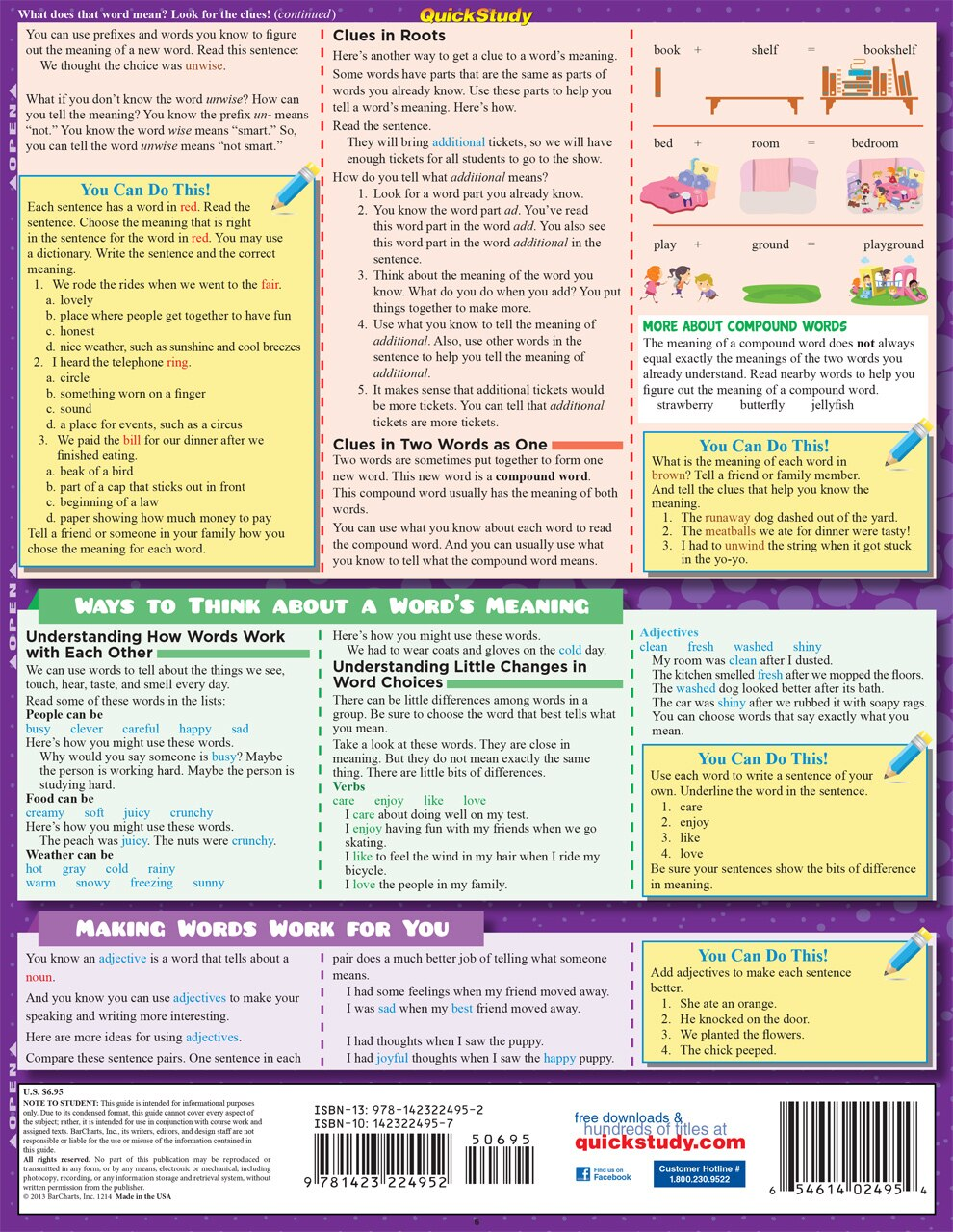 Quick Study QuickStudy English: 2nd Grade Laminated Study Guide BarCharts Publishing Grade School Academics Reference Back Image