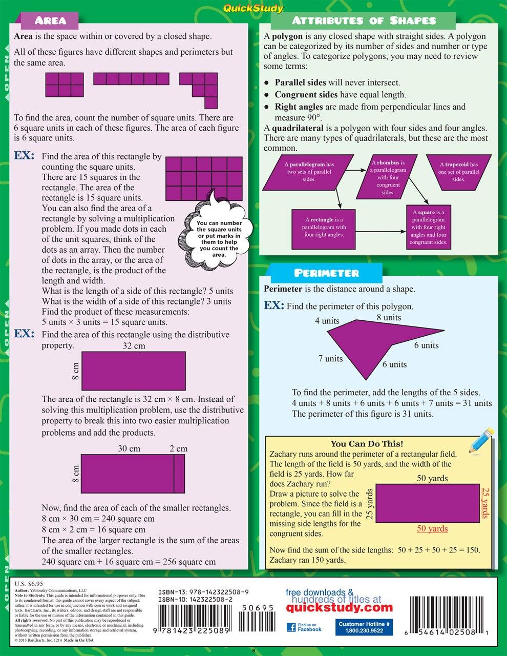 Quick Study QuickStudy Math: 3rd Grade Laminated Study Guide BarCharts Publishing Mathematics Study Outline Back Image