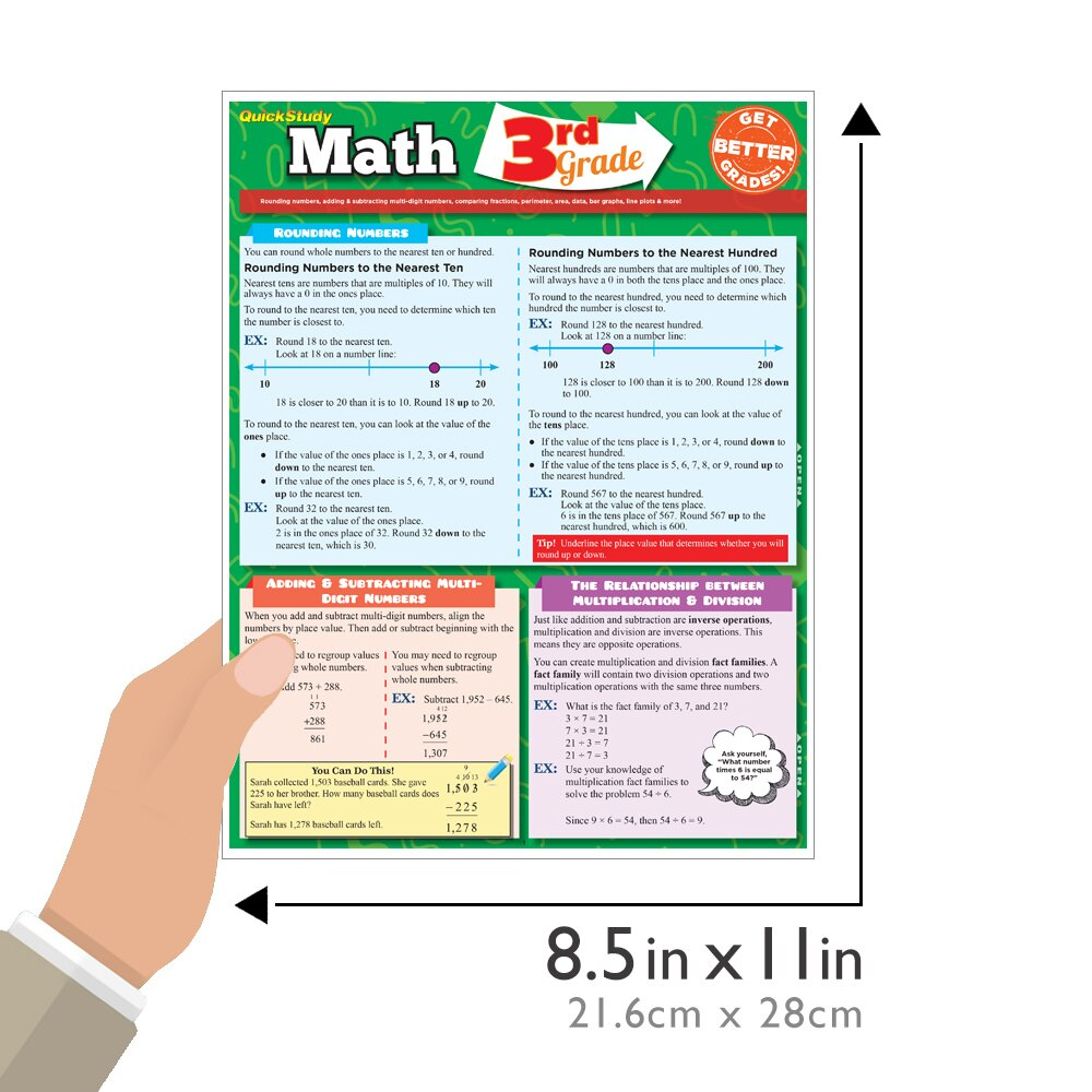 Quick Study QuickStudy Math: 3rd Grade Laminated Study Guide BarCharts Publishing Mathematics Study Outline Guide Size