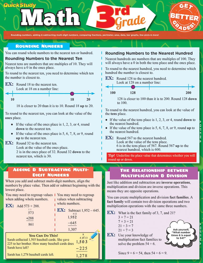 Quick Study QuickStudy Math: 3rd Grade Laminated Study Guide BarCharts Publishing Mathematics Study Outline Cover Image