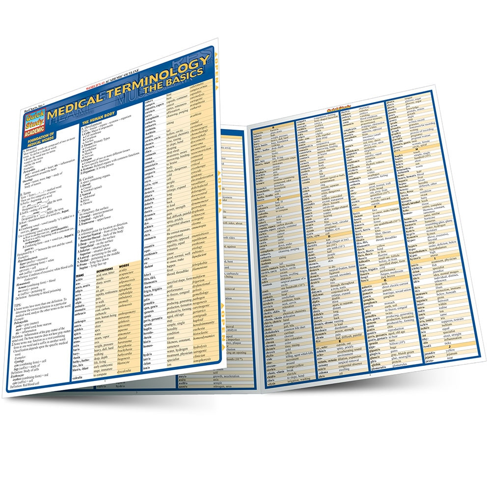 Quick Study QuickStudy Medical Terminology The Basics Laminated Study Guide BarCharts Publishing Main Image