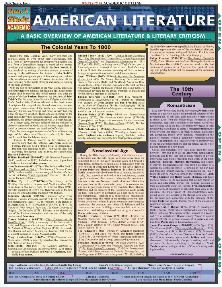 Quick Study QuickStudy American Literature Laminated Study Guide BarCharts Publishing Language Arts Reference Cover Image