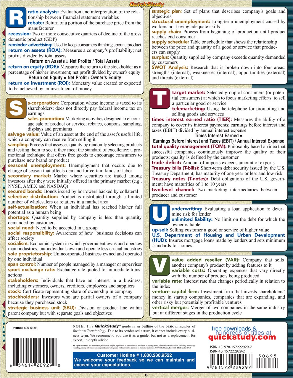 Quick Study QuickStudy Business Terminology Laminated Study Guide BarCharts Publishing Business Reference Back Image