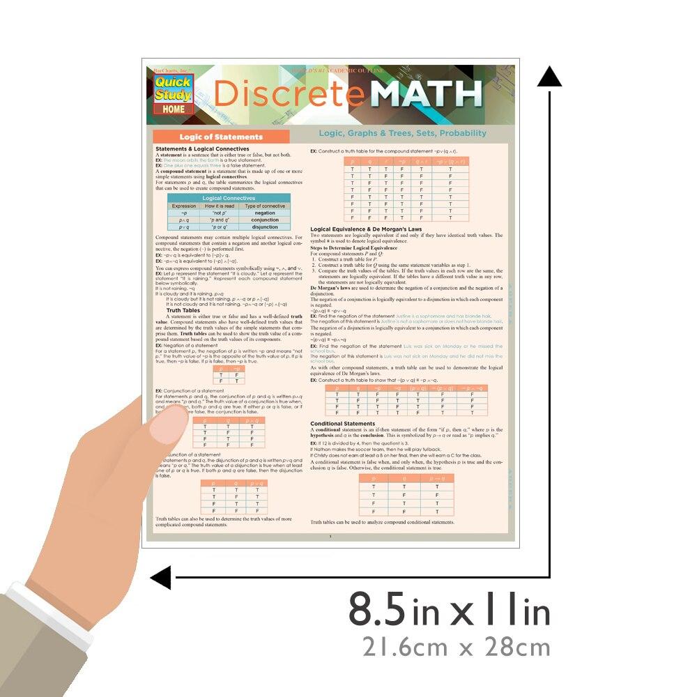 Quick Study QuickStudy Discrete Mathematics Laminated Study Guide BarCharts Publishing Math Reference Guide Size