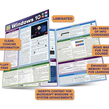 Quick Study QuickStudy Microsoft Windows 10 Laminated Reference Guide BarCharts Publishing Computer Browser Software Outline Guide Benefits