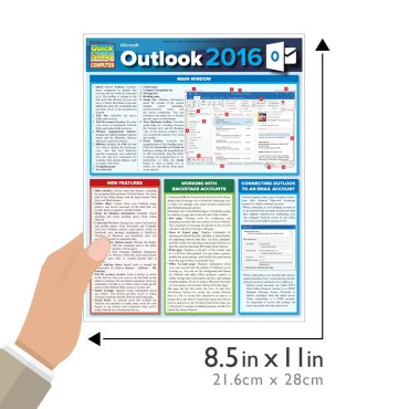 Quick Study QuickStudy Microsoft Outlook 2016 Laminated Reference Guide BarCharts Publishing Business Productivity Software Outline Guide Size