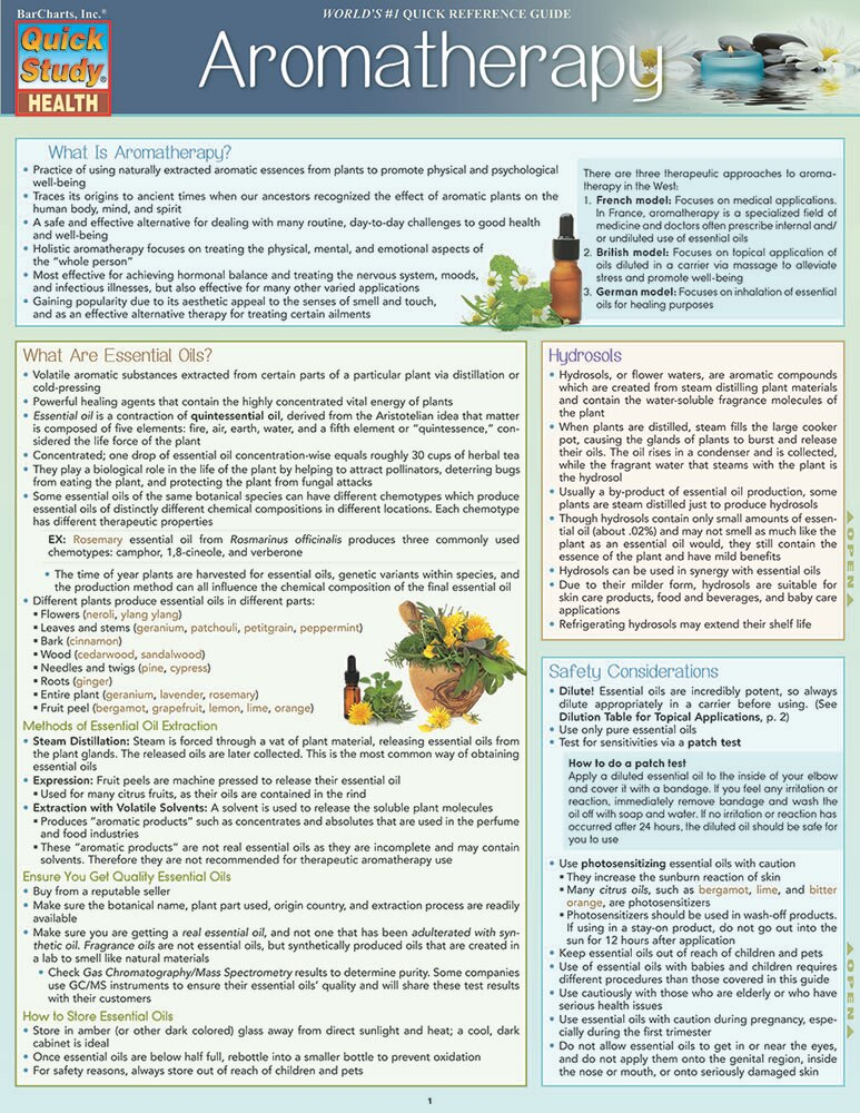 Quick Study QuickStudy Aromatherapy Laminated Reference Guide BarCharts Publishing Alternative Health Outline Cover Image