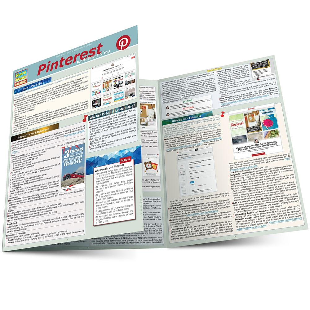 Quick Study QuickStudy  Pinterest Laminated Reference Guide BarCharts Publishing Social Media Business Marketing Guide Main Image