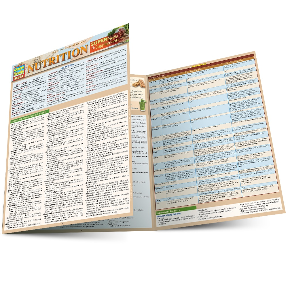 Quick Study QuickStudy Nutrition: Superfoods & Supplements Laminated Reference Guide BarCharts Publishing Health & Medical Reference Main Image