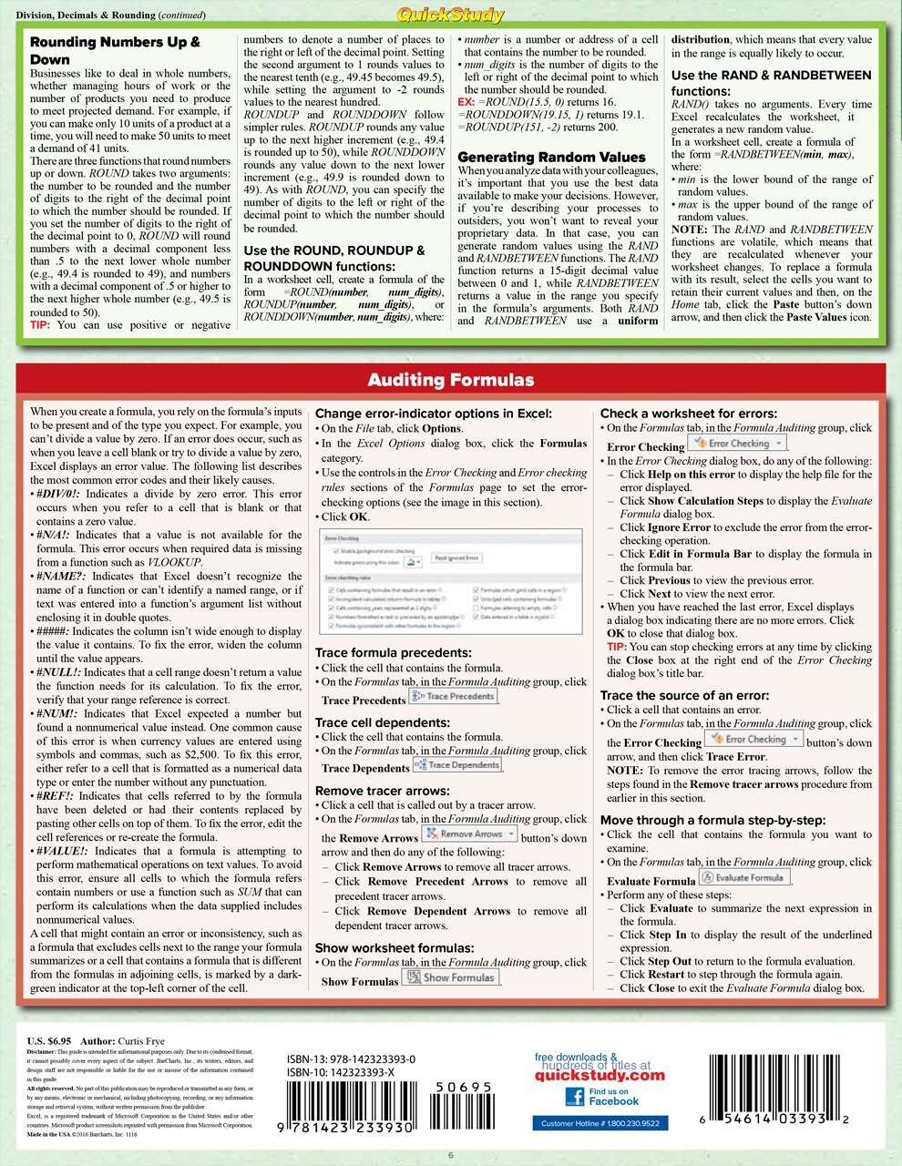 Quick Study QuickStudy Excel 2016 Formulas Laminated Reference Guide BarCharts Publishing Business Software Reference Back Image