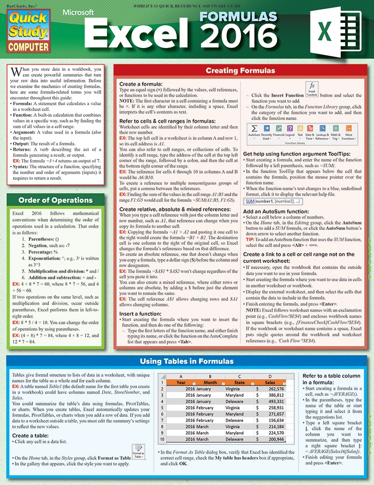 Quick Study QuickStudy Excel 2016 Formulas Laminated Reference Guide BarCharts Publishing Business Software Reference Cover Image