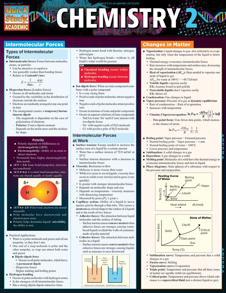 Quick Study QuickStudy Chemistry 2 Laminated Study Guide BarCharts Publishing Science Reference Cover Image