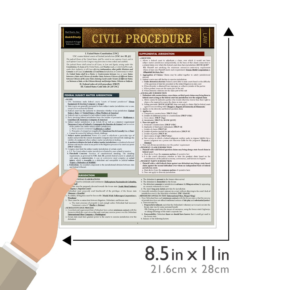 Quick Study QuickStudy Civil Procedure Laminated Study Guide BarCharts Publishing Law Outline Reference Guide Size