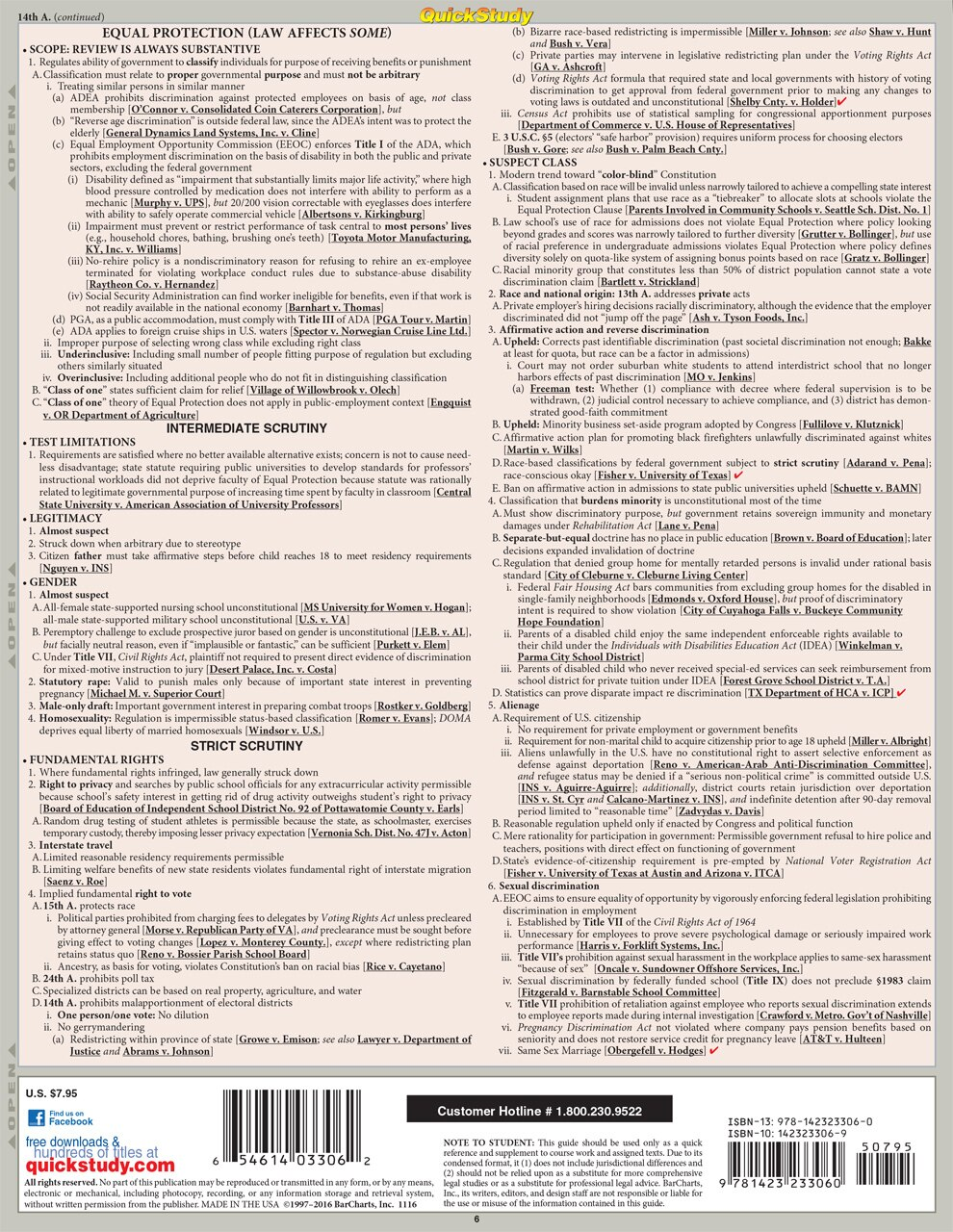 Quick Study QuickStudy Constitutional Law Laminated Reference Guide BarCharts Publishing Legal Guide Back Image