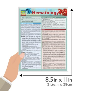 Quick Study QuickStudy Hematology Laminated Study Guide BarCharts Publishing Medical Science Outline Guide Size