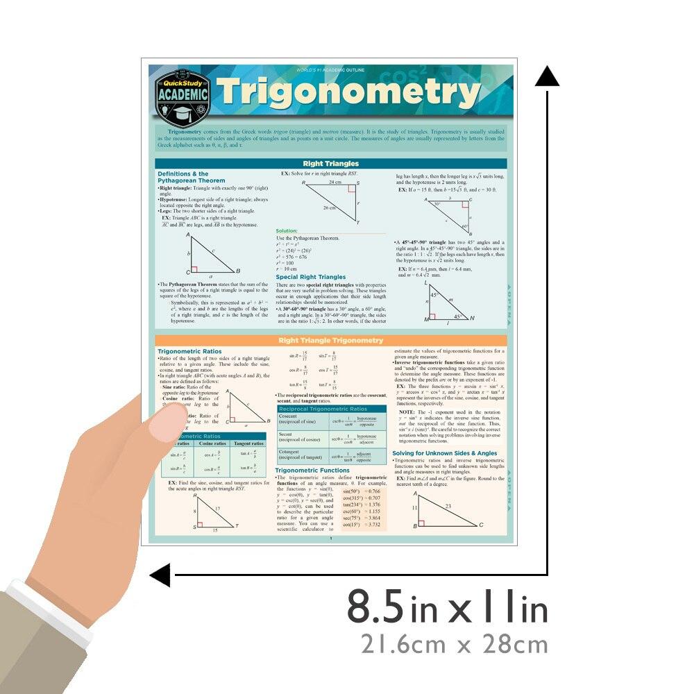 Quick Study QuickStudy Trigonometry Laminated Study Guide BarCharts Publishing Trigonometry Guide Size