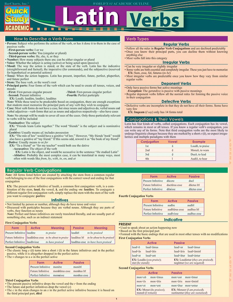 Quick Study QuickStudy Latin Verbs Laminated Study Guide BarCharts Publishing Foreign Language Guide Cover Image