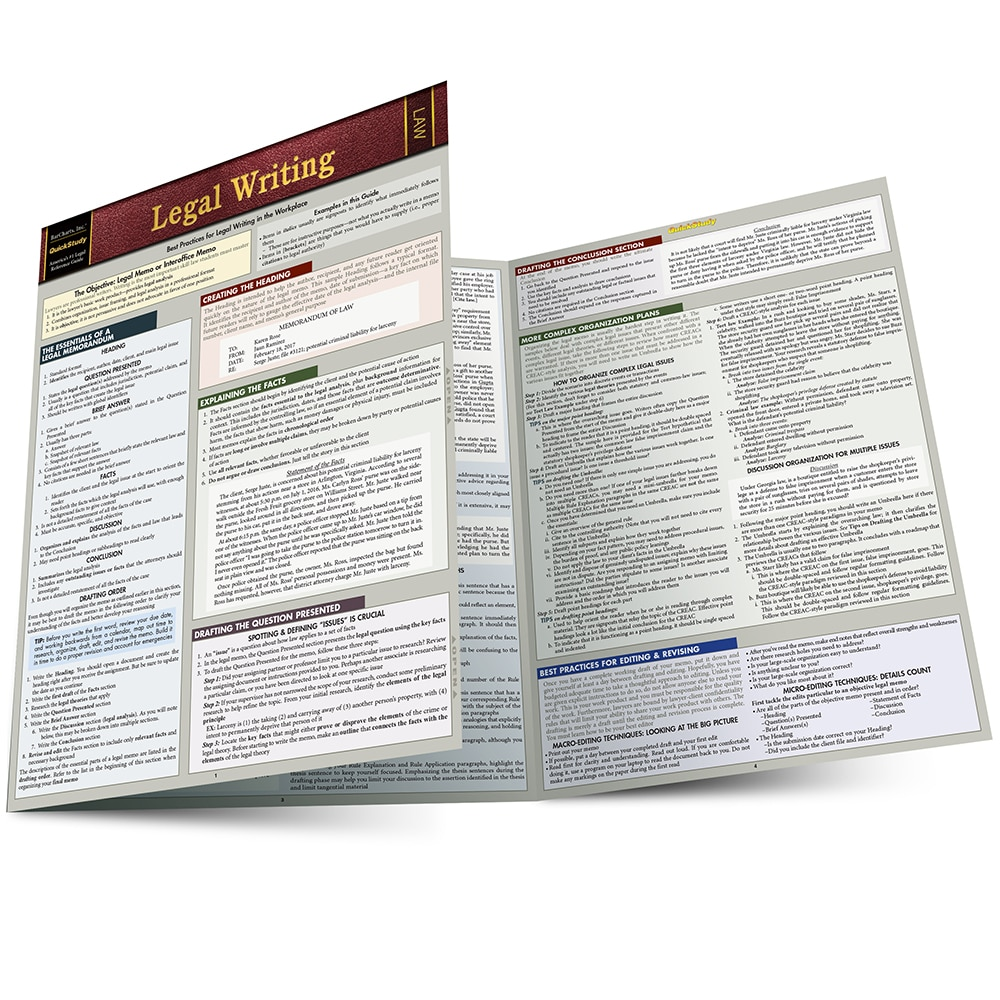 Quick Study QuickStudy Legal Writing Laminated Reference Guide BarCharts Publishing Academic Guide Main Image