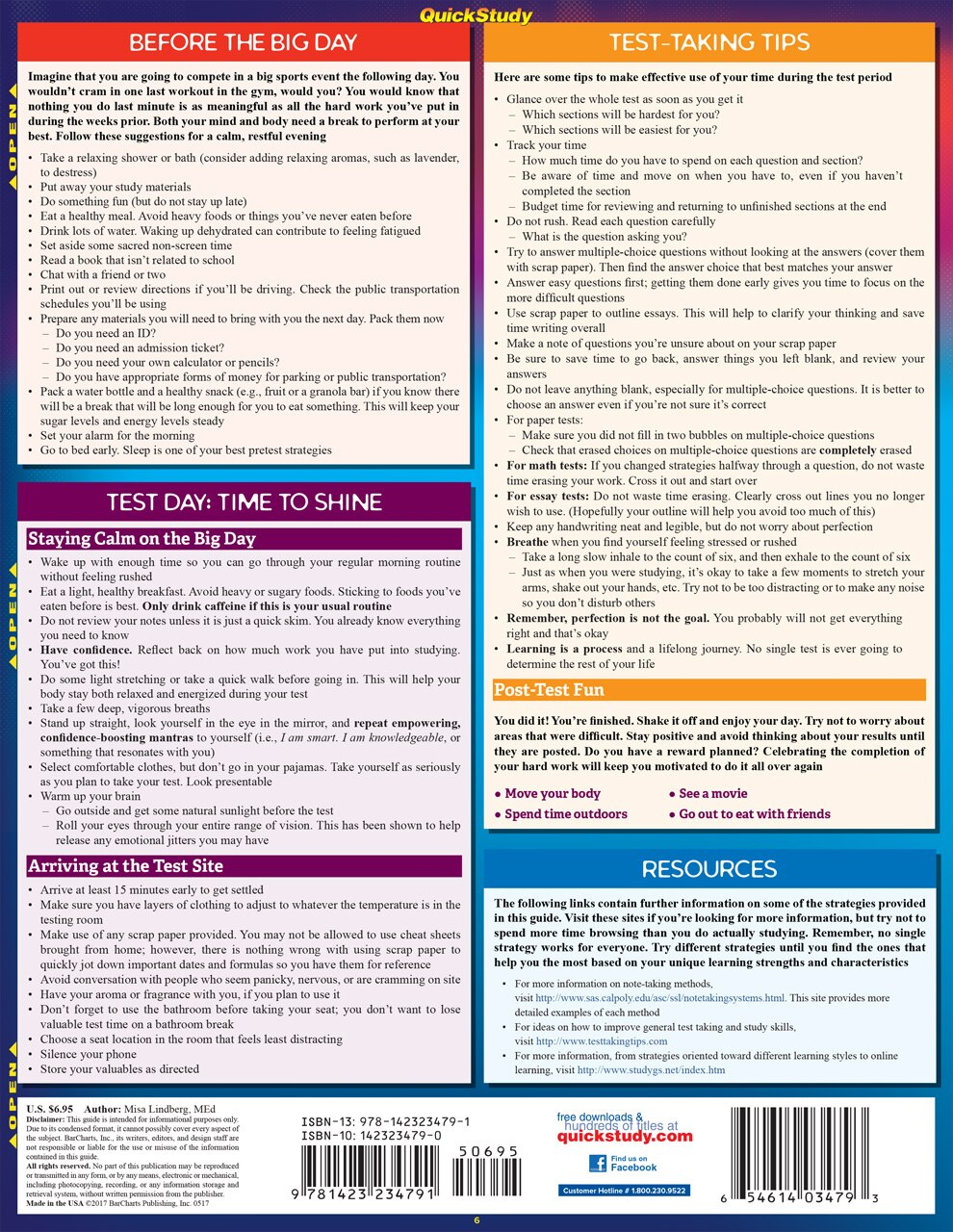 Quick Study QuickStudy Studying: Tips, Tricks & Hacks Laminated Study Guide BarCharts Publishing Academic Education Reference Back Image