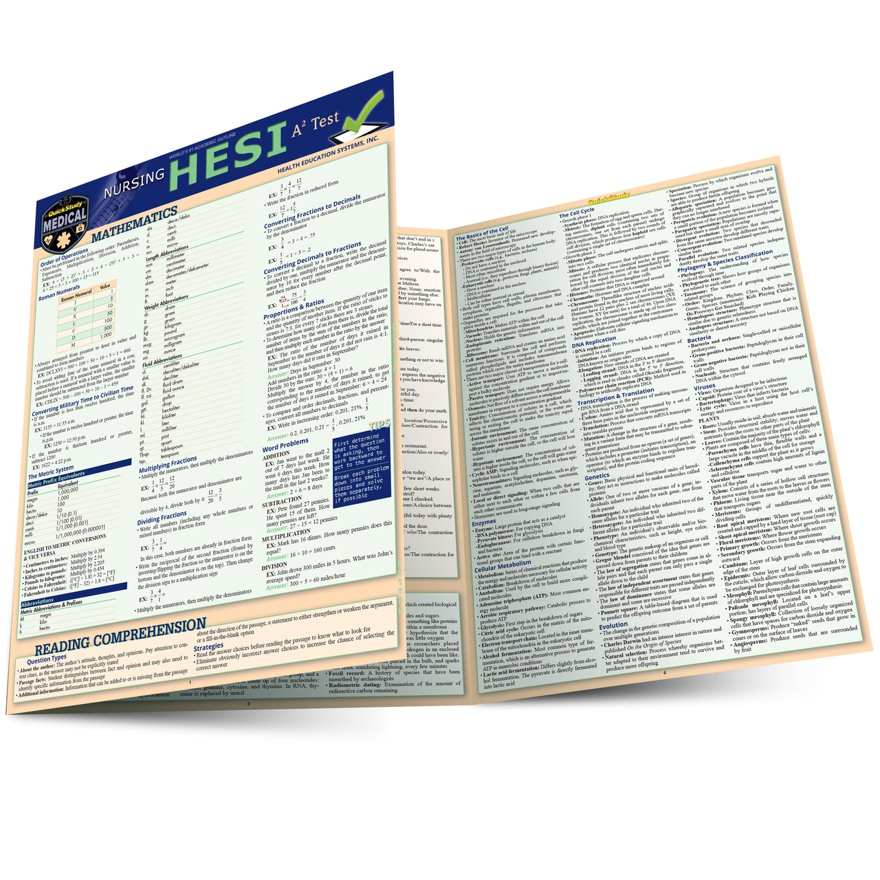 Quick Study QuickStudy Nursing HESI A2 Laminated Reference Guide BarCharts Publishing Medical Career Reference Outline Main Image