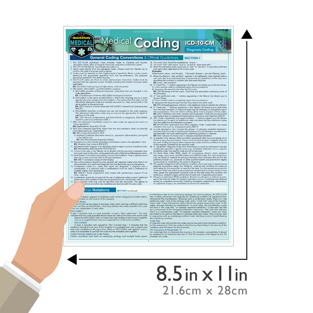 Quick Study QuickStudy Medical Coding ICD-10-CM Laminated Reference Guide BarCharts Publishing Medical Career Outline Guide Size