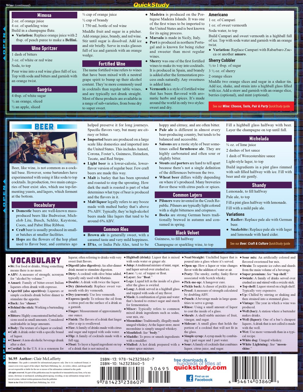 Quick Study QuickStudy Bar Guide: A Mixology Laminated Reference Guide BarCharts Publishing Lifestyle Reference Back Image