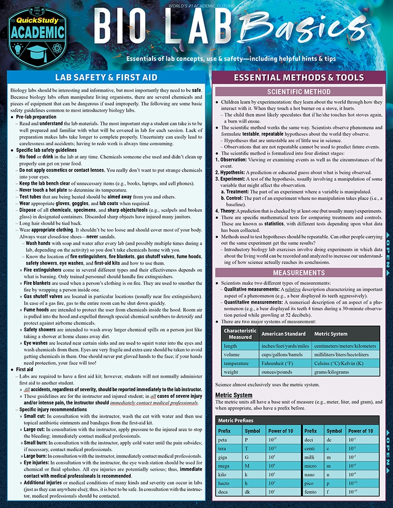 Quick Study QuickStudy Bio Lab Basics Laminated Study Guide BarCharts Publishing  Life Science Reference Cover Image