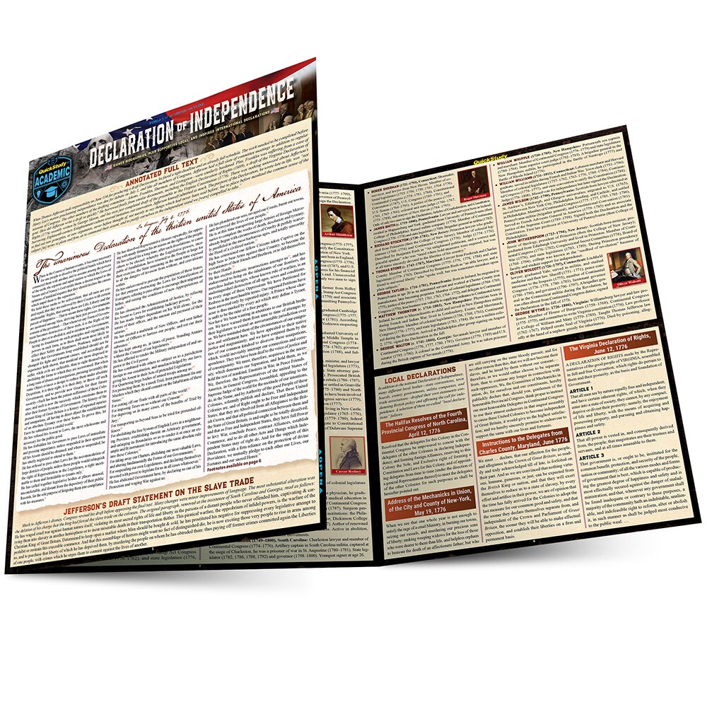 Quick Study QuickStudy Declaration of Independence Laminated Study Guide BarCharts Publishing American History Reference Main Image