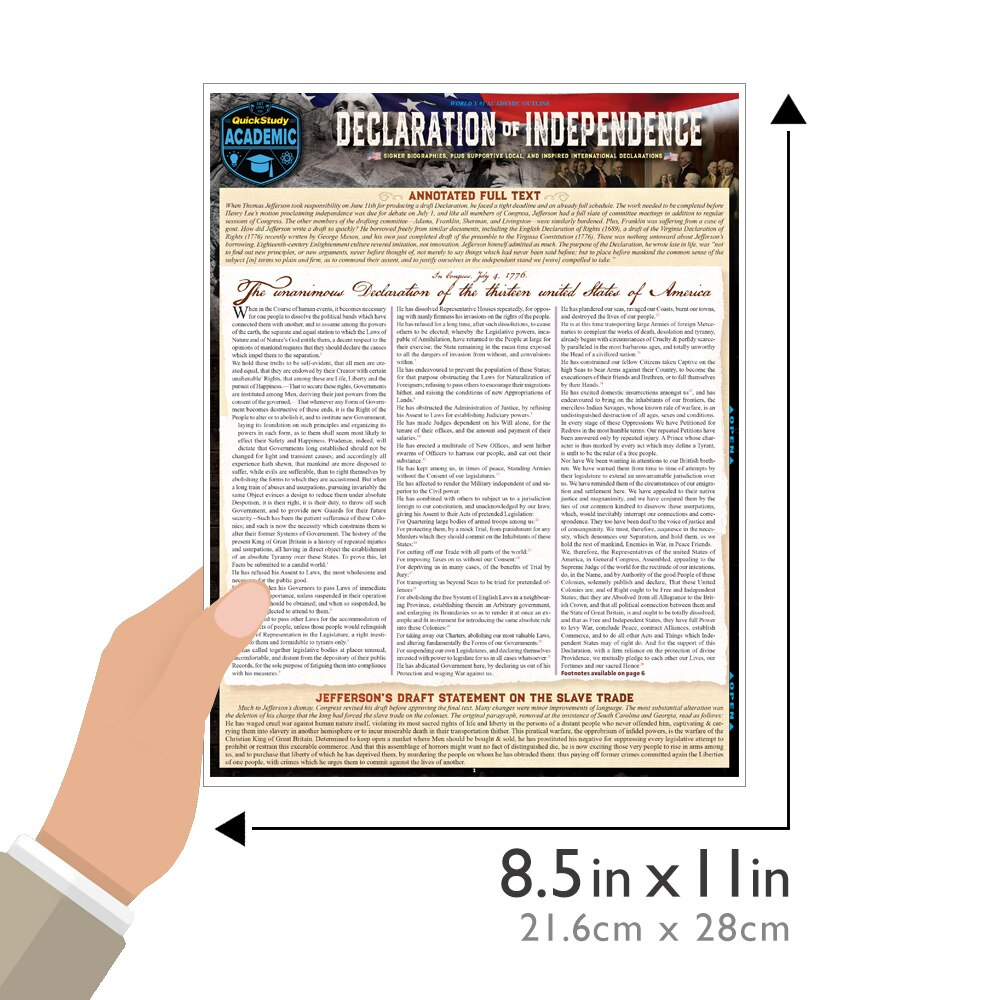 Quick Study QuickStudy Declaration of Independence Laminated Study Guide BarCharts Publishing American History Reference Guide Size