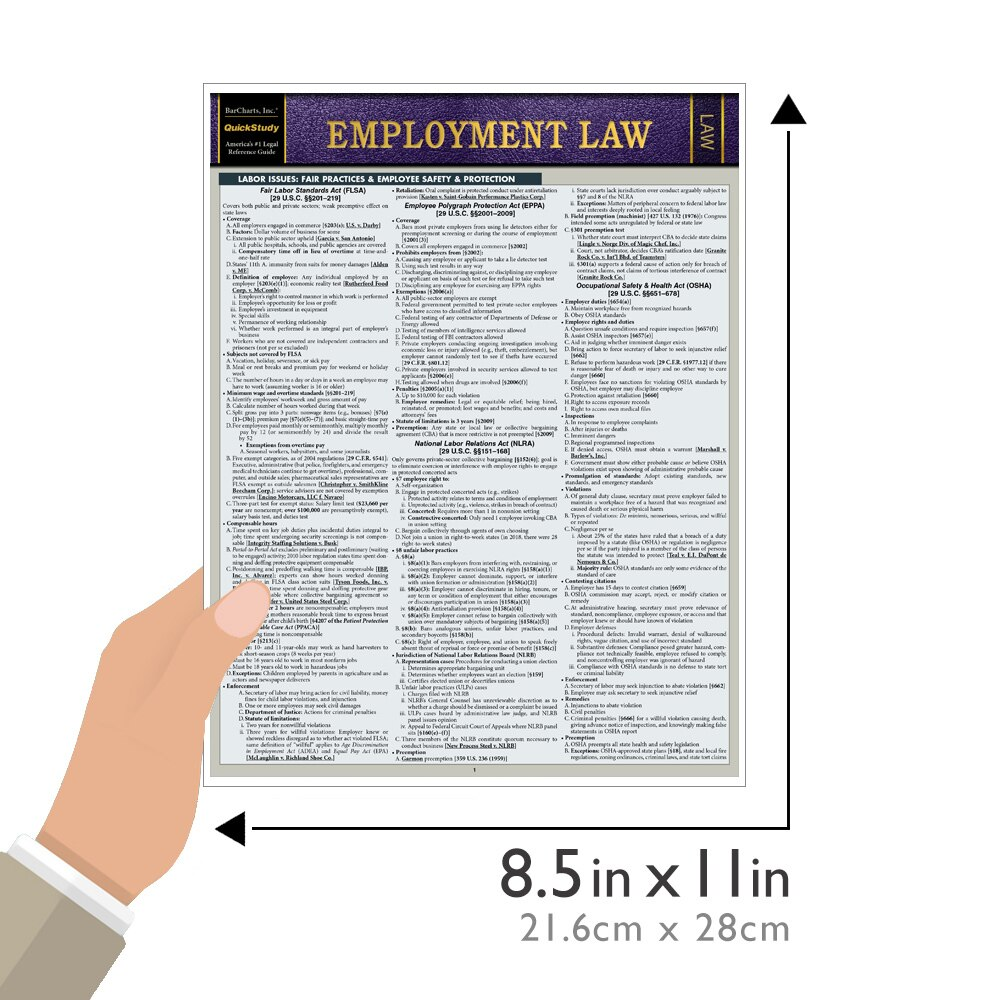 Quick Study QuickStudy Employment Law Laminated Study Guide BarCharts Publishing Law Reference Outline Guide Size