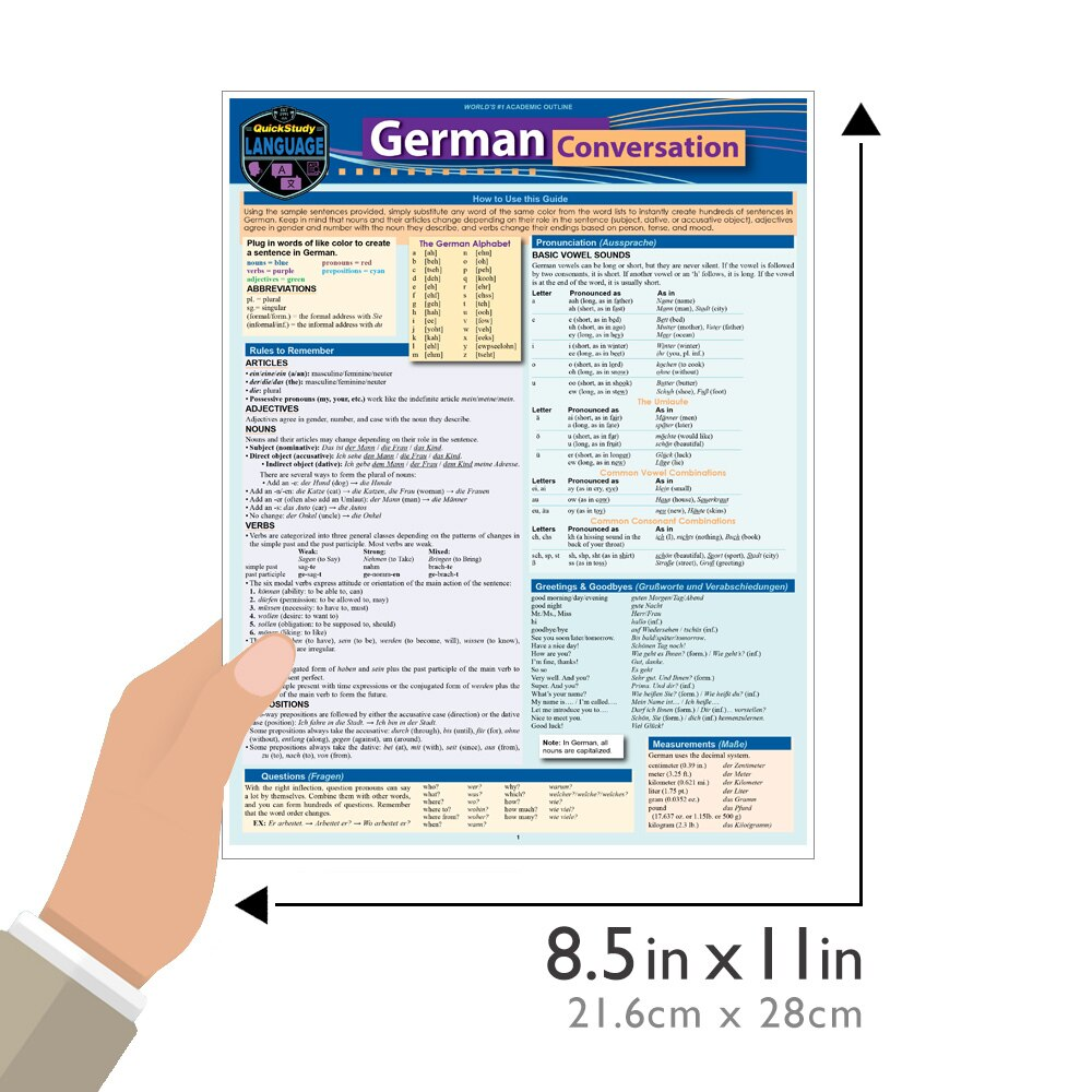 Quick Study QuickStudy German Conversation Laminated Study Guide BarCharts Publishing Foreign Language Reference Guide Size