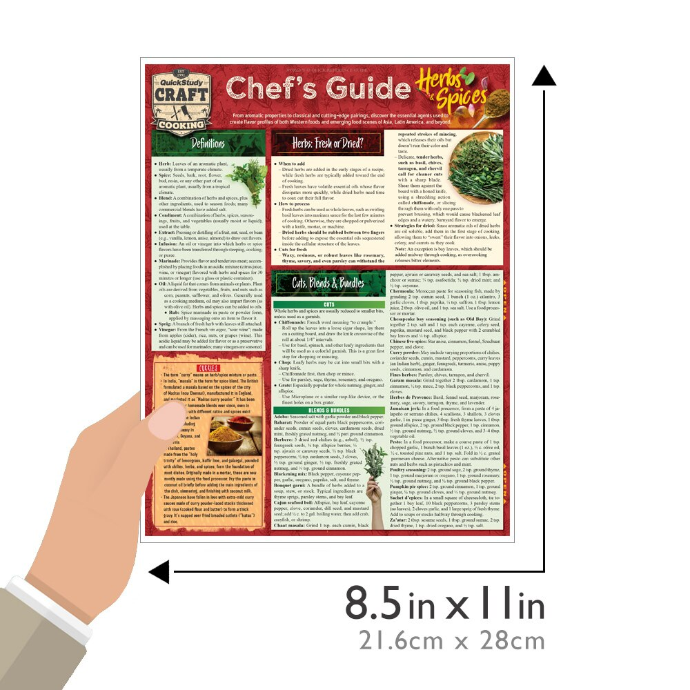 Quick Study QuickStudy Chef's Guide to Herbs & Spices Laminated Reference Guide BarCharts Publishing Culinary Reference Outline Guide Size