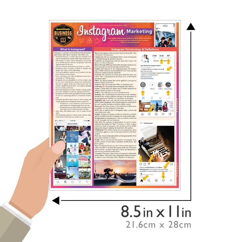 Quick Study QuickStudy Instagram Marketing Laminated Reference Guide BarCharts Publishing Social Media Marketing Reference Guide Size