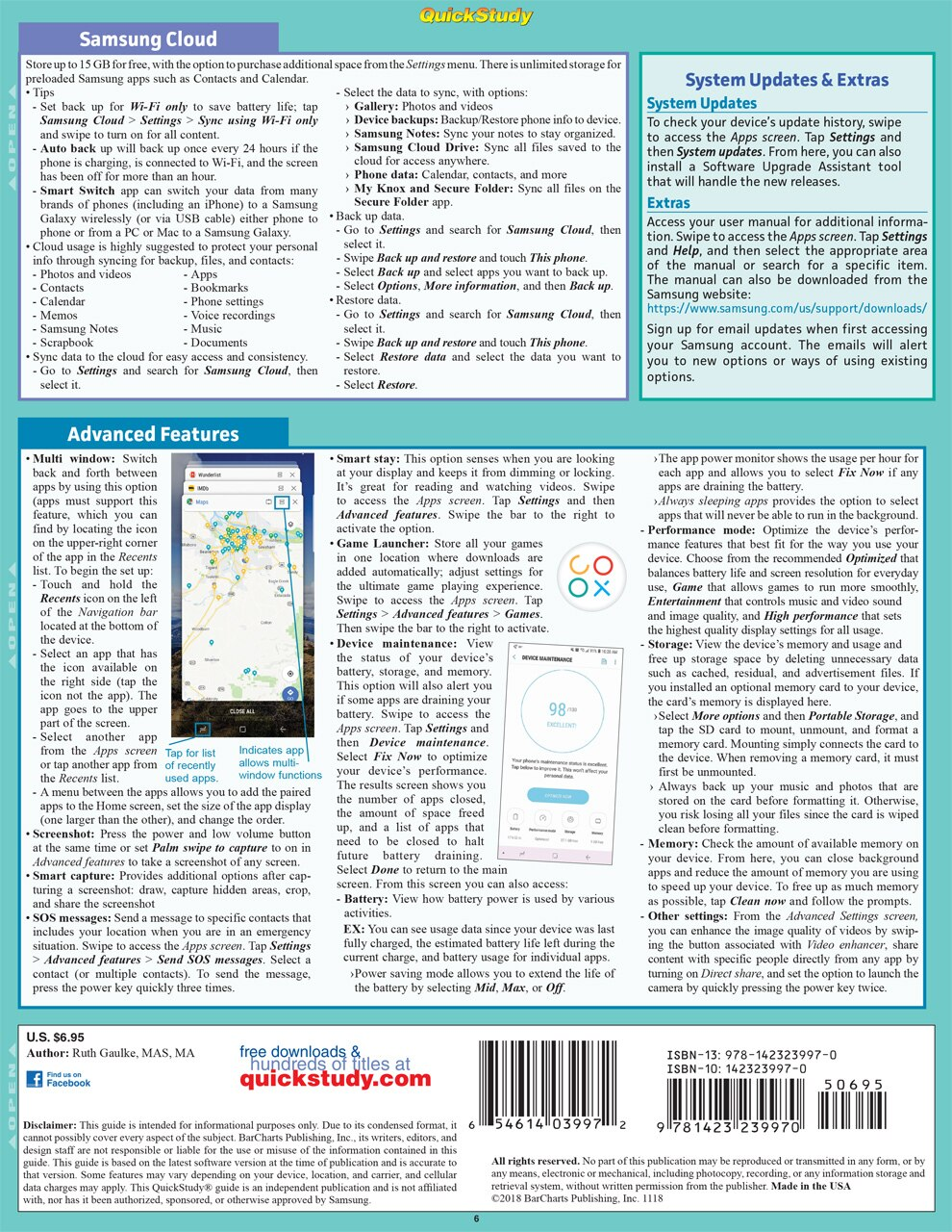 Quick Study QuickStudy Samsung Galaxy: Set Up & First-Time Access Laminated Reference Guide BarCharts Publishing Mobile Operating System (OS) Outline Back Image