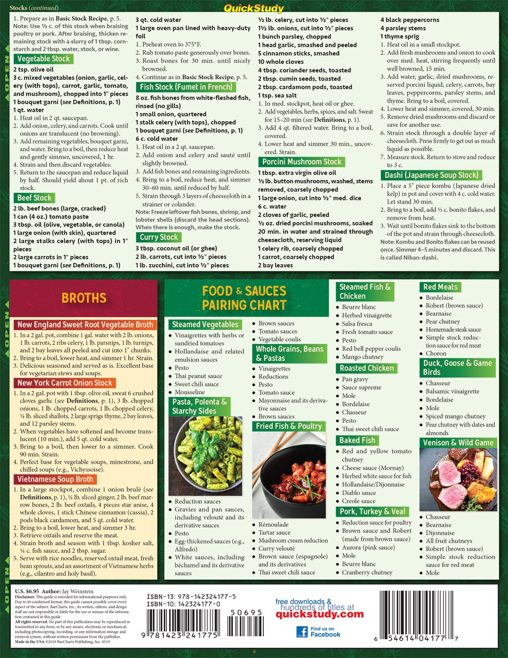 Quick Study QuickStudy Chef's Guide to Sauces & Dips Laminated Reference Guide BarCharts Publishing Culinary Reference Outline Back Image