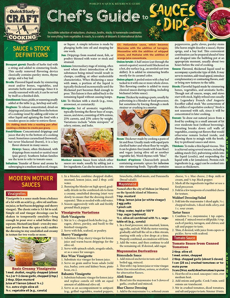 Quick Study QuickStudy Chef's Guide to Sauces & Dips Laminated Reference Guide BarCharts Publishing Culinary Reference Outline Cover Image
