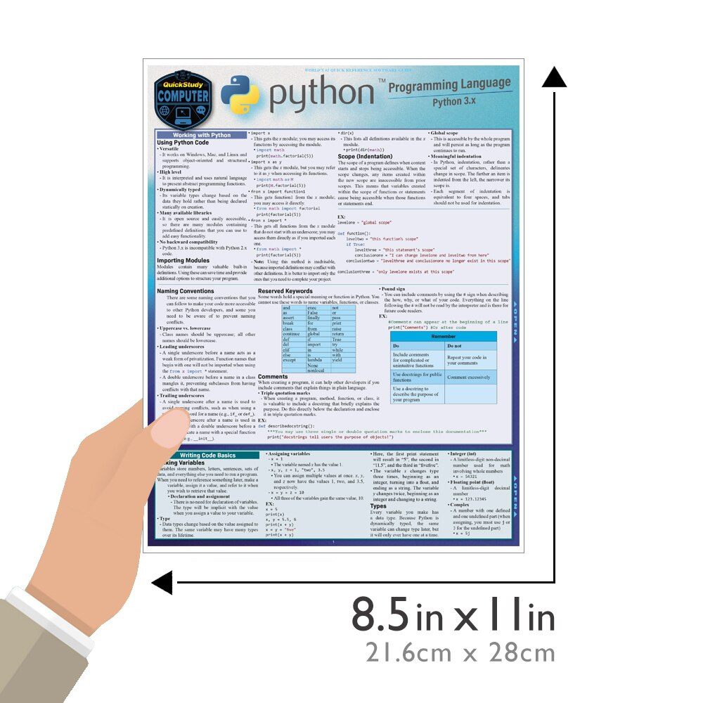 Quick Study QuickStudy Python 3 Programming Language Laminated Reference Guide BarCharts Publishing Computer Programming/Coding Language Outline Guide Size
