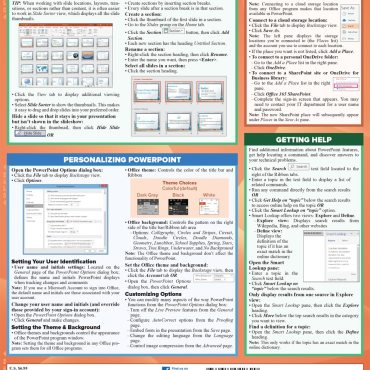 Quick Study QuickStudy Microsoft PowerPoint 365: 2019 Laminated Study Guide BarCharts Publishing Career Reference Back Image