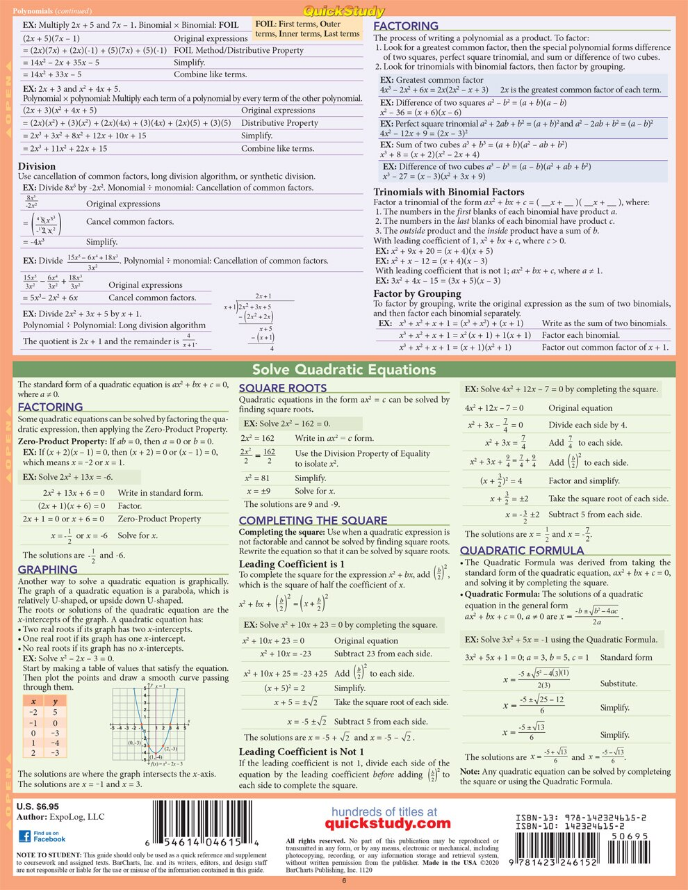 Quick Study QuickStudy Elementary Algebra Laminated Study Guide BarCharts Publishing Mathematic Reference Back Image