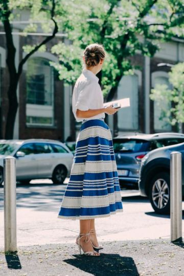 blue midi skirt