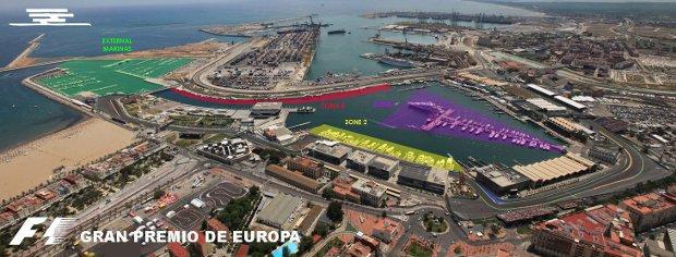 Zonas atraque Marina Real Valencia Formula 1