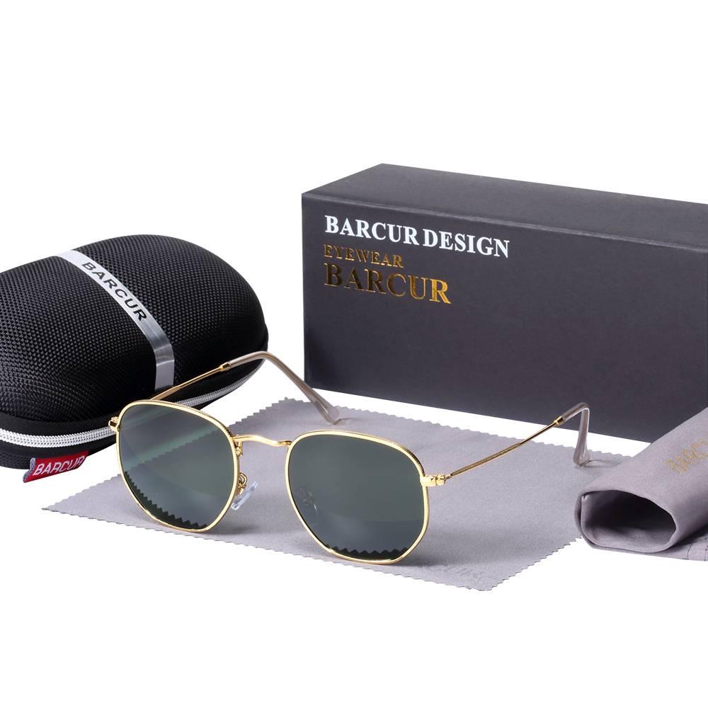 BARCUR New Sunglasses Reflective Women Men Stainless Steel Frame Hexagon BC3549 Sunglasses for Men Round Series Sunglasses Sunglasses for Women