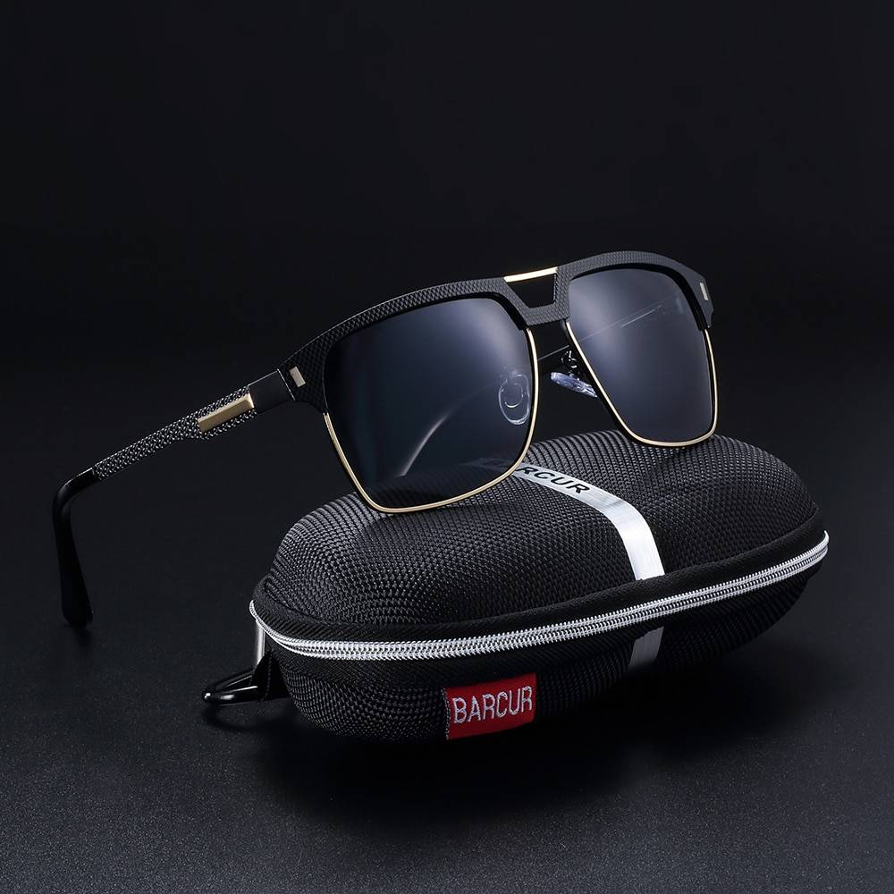 BARCUR Black High Quality HD Polarized Sunglasses Men Driving for Man Shades Eyewear With Box BC8752 Sunglasses for Men